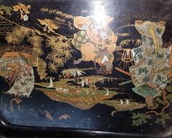 Petit plateau en papier mâché Napoléon III à décor chinois