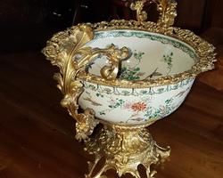 Exceptionnelle coupe bronze et faience napoléon 3 (compagnie des indes)