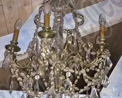 lustre en cristal et bronze argenté