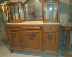 art deco oak sideboard with marble top