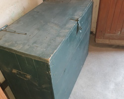 2 green painted fir crates, designed for storing and transporting canvas  1920/1930 period