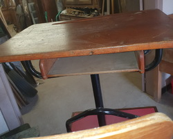 Wooden and metal school desk attributed to PROUVE  50s / 60s