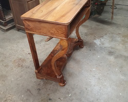 period console restoration in walnut  wood tray