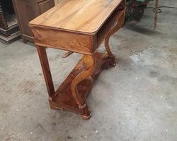 period console restoration in walnut  wood tray