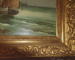 Huile sur toile de VARNET représentant une Marine