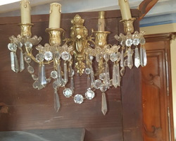 Pair of bronze sconces with glass pendants  late 19th / early 20th