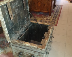 17th century marine chest with some of its original polychromes  oak frame covered with metal