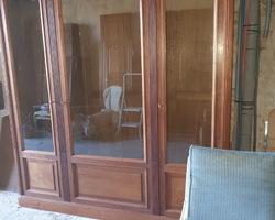 bookcase with 3 louis XVI style doors in mahogany