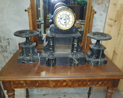 Napoleon III fireplace insert in black and green marble  the clock and its 2 casseroles