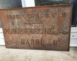 Old 19th century cast iron traffic sign