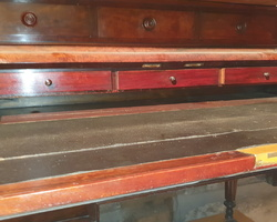 Napoleon III period desk with stepped mahogany from Cuba