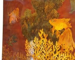 Panneau asiatique en laque à décor de poissons