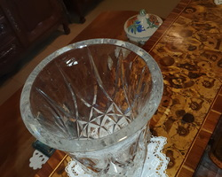 Large cut crystal vase early 1900