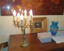 Paire de chandelier en bronze montés en lampes