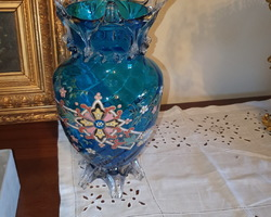 Pair of enamelled blue Legras vases