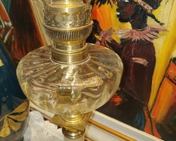 Oil lamp with its Baccarat tank