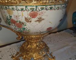 Coupe en bronze et porcelaine à décor chinois Napoléon III