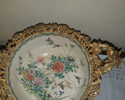 Cup of the India Company in gilded bronze for the frame  and Chinese porcelain Napoleon III period