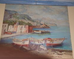 Huile sur toile représentant un village de pêcheurs