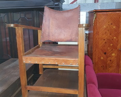 Scandinavian wooden armchair and leather seat and back  from the 60s