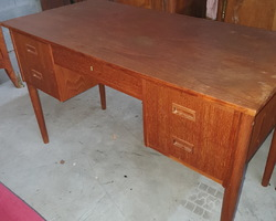 Scandinavian (Danish) flat desk with 5 drawers  from the 60s