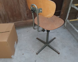 1950s drawing table chair  in wood and metal  In very good shape