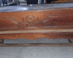 Rare Lorraine coffin mixer in oak carved on the front face  early 19th