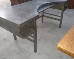 Metal workbench from Lip  serving the designer of watches and clocks  from the 60s  transformed into an executive desk