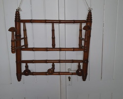 Towel holder wall late 19th  in cherry wood imitating bamboo