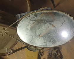 Oval brass mirror in Louis XVI style from the 1950s