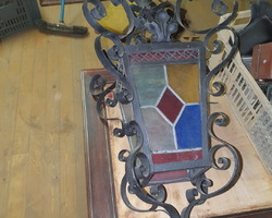 Lantern from the 30s / 50s in wrought iron and colored stained glass