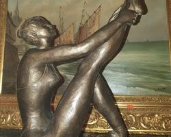 Statue de danseuse en bronze travail contemporain