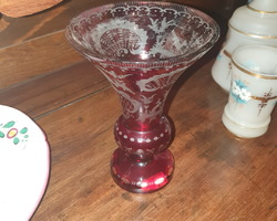 Burgundy bohemian crystal vase