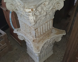 2 Greek column capitals from the 1950s in reconstituted stone
