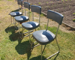 4 Roneo chairs  frame in chromed tube  gray leatherette seat  from the 50s