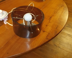 Desk lamp from the 50s in chromed metal and brown tinted plastic shade