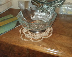 Glass and silver-plated fruit bowl circa 1950