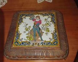 Dessous de plat bois et carreau en faïence début du 20ème
