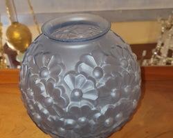 30s blue pressed glass ball vase
