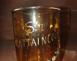 Enamelled Baptismal Glass on Yellow Lucie Mattaincourt 1906