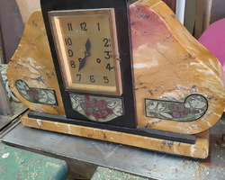 Art Deco marble fireplace set including the clock and 2 casseroles