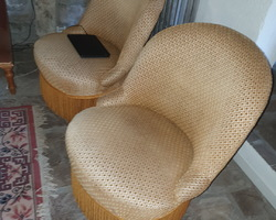 pair of Napoleon 3 low chairs  good general condition old fabric