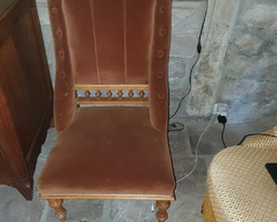 Pair of cherry wood fireside chairs 19th century
