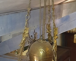 Suspension en bronze avec son opaline verte fin 19ème