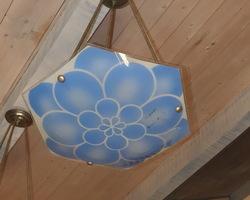 Art deco chandelier with blue decoration