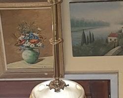 Lustre des années 20 en verre dépolit et monture bronze