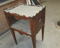 18th century walnut bedside table  sold either as is or restored by me