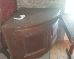 19th century corner cabinet with 2 curved oak doors