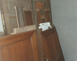 Louis XIV oak cabinet square panels with 2 drawers