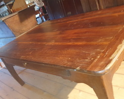 Rectangular oak coffee table from a kitchen table